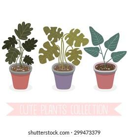 set of three cute cartoon plants on white background. cute handrawn plants into pot