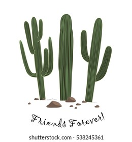 Set of three cute cartoon Saguaro cactus . Friends forever text. Card could be used for cards or prints.