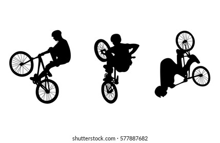 Set with three cyclists doing stunts on white background, vector illustration