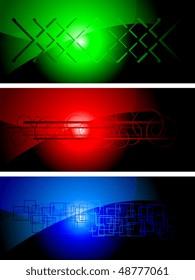 Set of three dark banners, eps 10