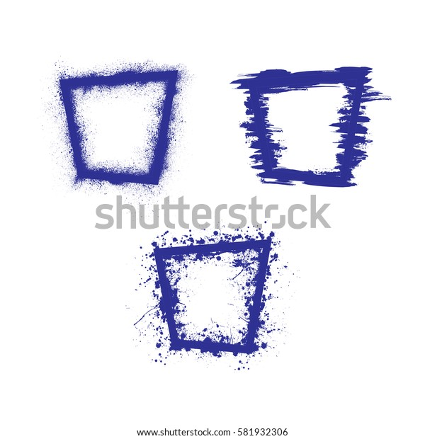 Set of three dark blue rectangle grunge frames isolated on white background