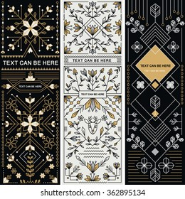SET OF THREE DECORATIVE DESIGNS. Geometric nature style.Can be used for labels, packages, cards, prints, web design, fashion, leaflet, cosmetics invitations etc. Editable vector illustration file.