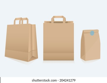 Set of three different blank recyclable brown paper bags for packaging and shopping , two with handles, vector illustration on grey