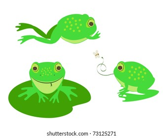 a set of three different cute vector frogs
