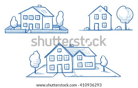 Set of three different houses, detached, single family houses with gardens. Hand drawn cartoon vector illustration.