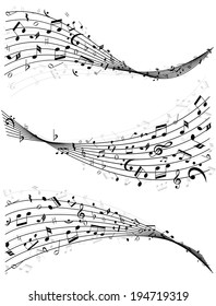 Set of three different wavy lines or stave of random scattered music notes in black and white  vector illustration