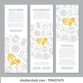 Set of three digital beer, pub and bar vertical banners with icon pattern. Vector illustration