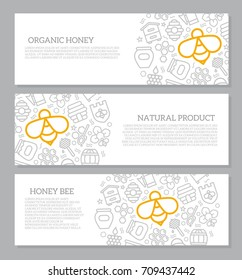 Set of three digital honey and bee horizontal banners with icon pattern. Vector illustration