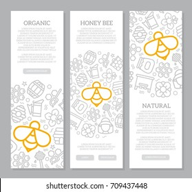 Set of three digital honey and bee vertical banners with icon pattern. Vector illustration
