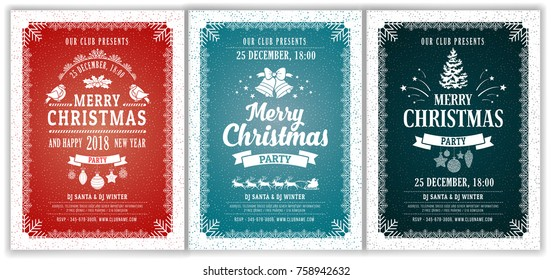 Set of three elegant and stylish template design for Christmas party. Elements are on separate layers in vector file. Easy to edit and customise. Vector illustration.