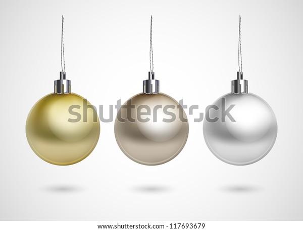 Set of three evening balls. Gold, silver, bronze symbol.