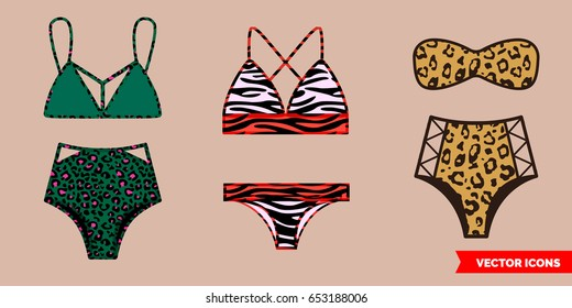 7fa3e434be A set of three fashionable bikini swimsuits with animal print (Zebra,  leopard).