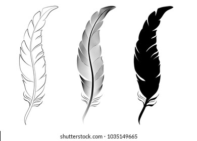 Set three feathers, outline, silhouette, stylization.