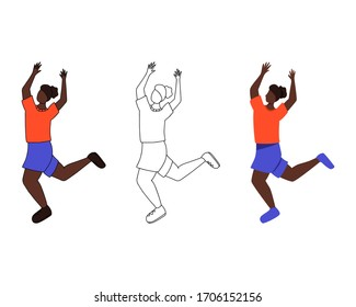Set of three female characters. Dancing girl with raised hands in flat, cartoon and line style.