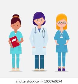 Set of three female doctor and nurses. Vector cartoon illustration