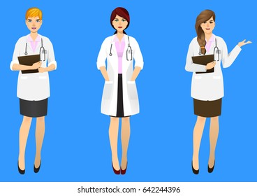 Set of three female doctors in various actions on blue background. Vector illustration.