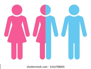 Set Of Three Figures Female Miscellaneous Male Pink And Blue