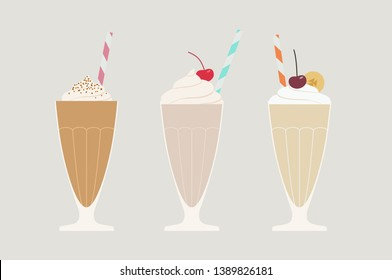 Set of three flat illustrations with sweet milkshakes, refreshing bevereges with chocolate, cream, pistachio, vanilla and whipping cream, cherry, banana, chocolate chip, cocktail straw on the top