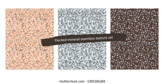 Set of the three flecked mineral textures, seamless pattern in various color combinations