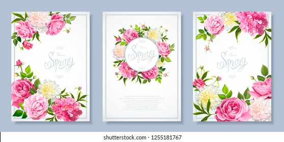 Set of three floral backgrounds with blooming flowers of pink and light yellow peonies, lovely roses, buds, green leaves. Inscription Spring