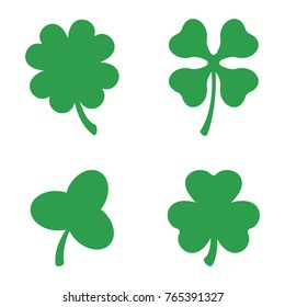 Set of three and four leaf clovers. Vector icon. A symbol of good luck. St Patricks day. Clover silhouette. Green lucky irish clover.