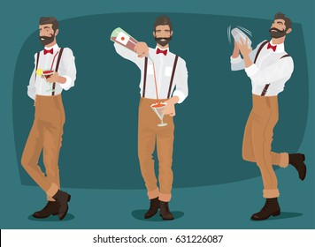 Set of three fun and mustachioed hipster bartenders with suspenders and bow tie, shakes the contents into the shaker, pours out of the bottle drink, offers cocktail. Vector illustration