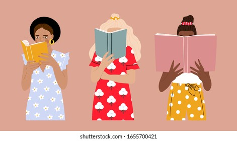 Set of three Girls that are reading Books while standing. Young women. Beautiful dresses with prints. Read more books concept. Hand drawn Vector trendy illustration. Pastel colors