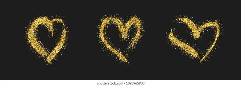 Set of three gold glitter doodle hearts on dark background. Gold grunge hand drawn heart. Romantic love symbol. Vector illustration.