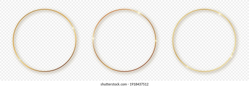 Set of three gold glowing circle frames with shadow isolated on transparent background. Shiny frame with glowing effects. Vector illustration.