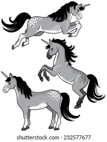 A set of three gray cartoon unicorns standing, rearing up and jumping.