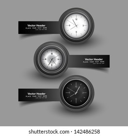 Set of three gray colorful headers with timers watch vector illustration