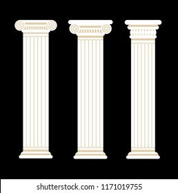 Set of three greek and roman antique columns. Gold and white colors. On black background.