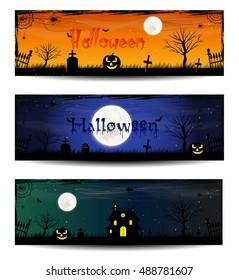 Set of three Halloween banners. Happy Halloween day banner set design. Halloween posters.