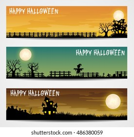 Set of three Halloween banners .Vector illustration