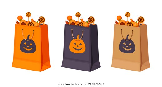 Set of three Halloween paper bags with candies. Vector illustration.