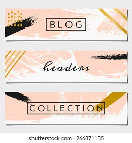 A set of three hand drawn brush strokes header designs. Pastel pink, black and golden color palette. Modern and elegant blog design elements.
