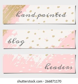 A set of three hand drawn brush strokes header designs. Pastel pink, off-white and golden color palette. Modern and elegant blog design elements.