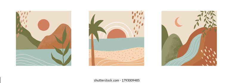 Set of three hand drawn trendy vector illustrations. Mountain, hill, sea, beach, river, waterfall, palm tree, sun, plants, moon. Scandinavian style illustration. For background, home decoration, etc