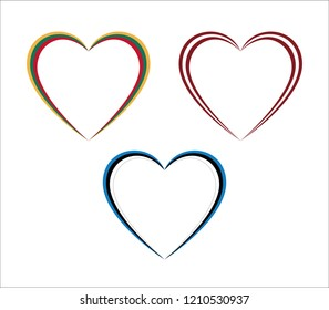 Set of three hearts in Lithuanian, Latvian and Estonian colors isolated on white background