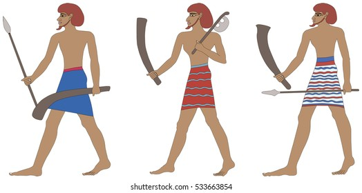A set of three historic Egyptian soldiers. Warriors of Pharaonic times. Isolated on white background.