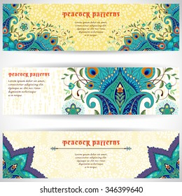 Set of three horizontal banners with beautiful oriental floral ornament and delicate backdrop. Paisley flowers with peacock feathers. Place for your text.