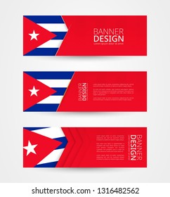 Set of three horizontal banners with flag of Cuba. Web banner design template in color of Cuba flag. Vector illustration.