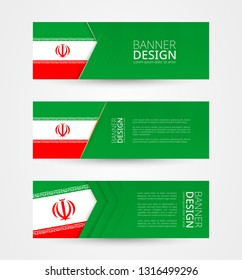 Set of three horizontal banners with flag of Iran. Web banner design template in color of Iran flag. Vector illustration.