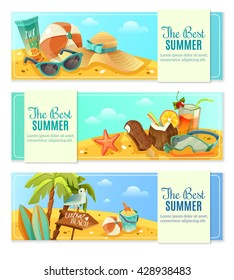 The set of three horizontal banners on a beach theme. Vector illustration