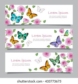 Set of three  horizontal banners with roses and butterflies. Banners with place for your text, isolated on gray background. Vector illustration for your design.