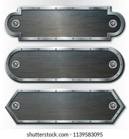 Set of three horizontal metal banners. Vector illustration.
