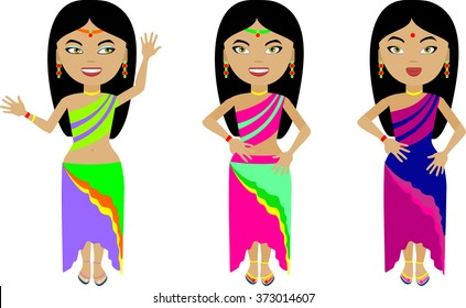 A set of three Indian girls in colorful clothes. With different emotions on his face