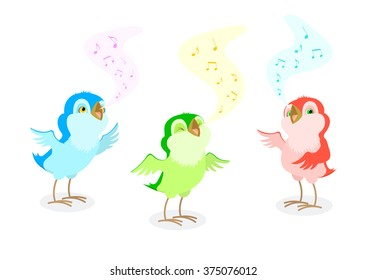 The set of three isolated cartoon birds singing in three colors.