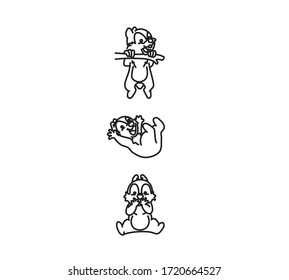 Set of three Isolated Vector Cartoon Chipmunk. Black and White Sketch for  Tattoo, Poster, Print, ot t-short. HandDrawn Chipmunk.
