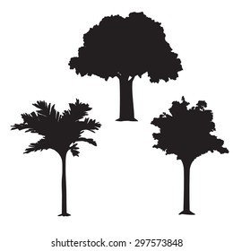 Set of three isolated vector trees. Vector abstract illustration